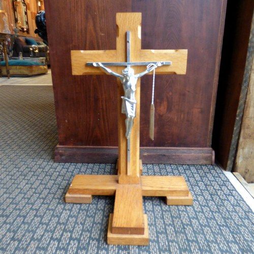 WOOD AND METAL CRUCIFIX ON STAND
